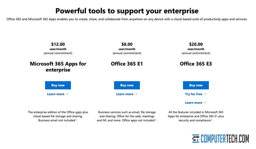 Pricing of Office 365